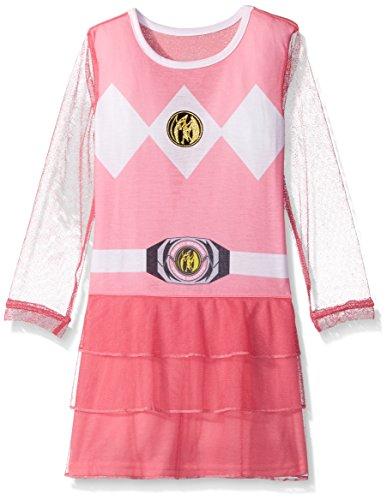 Mighty Morphin Power Rangers Costume Amazon (Intimo Big Girls' Power Rangers Pink Ranger Mighty Morphin Nightgown Pajama, Pink, 4/5)