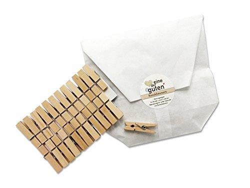 24 kleine robuste Mini-Wäscheklammern für Adventskalender, 35mm, stark aus Holz, Miniklammern, Miniwäscheklammern zum Basteln, für Deko, Fotos und Adventskalender, plastikfreie Verpackung