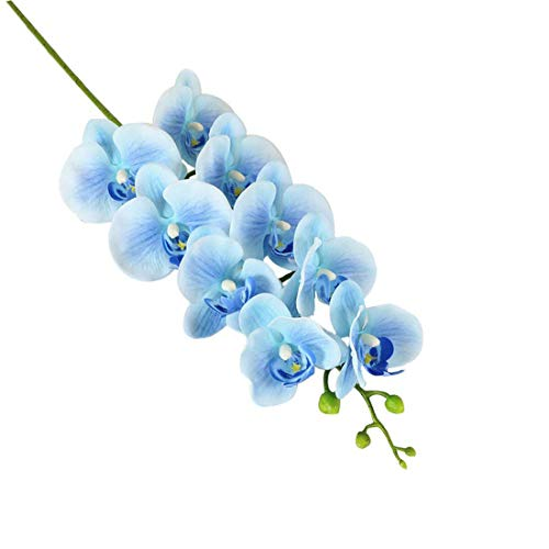 Calcifer 10 Pcs 35.43'' Artificial Real Touch Latex Phalaenopsis Orchid Stem Bouquets Artificial Flowers for Wedding Party Home Garden Decor (Light Blue)
