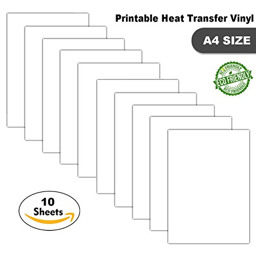 photo about Printable Tshirt Transfers known as Printable Iron-Upon Move Vinyl Sheets for Inkjet Printers T-Blouse Transfers, A4 Sheets (10 Sheets White)