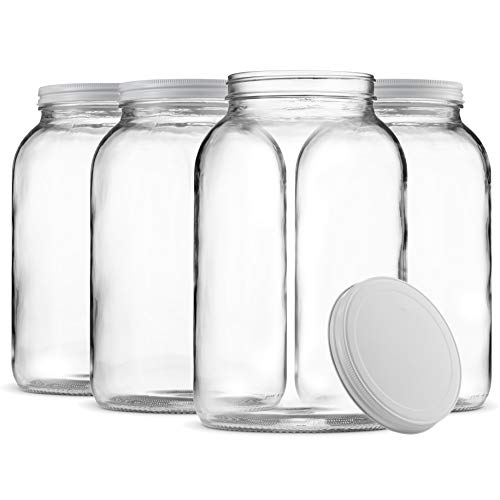 Paksh Novelty 1-Gallon Glass Jar Wide Mouth with Airtight Metal Lid - USDA Approved BPA-Free Dishwasher Safe Mason Jar for Fermenting, Kombucha, Kefir, Storing and Canning Uses, Clear. (Glass Jars With Metal Screw Top Lids)