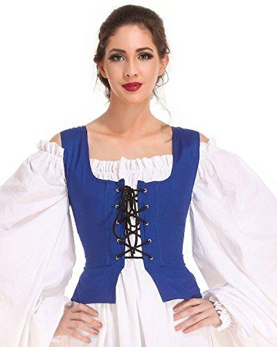 Pirate Wench Peasant Renaissance Medieval Costume Corset Bodice C1051 [Blue] (Large)