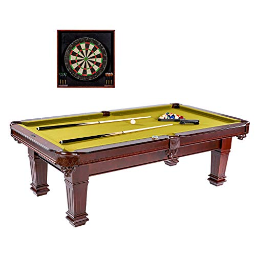 """l Table, 100"""", with Dartboard Set - Wood Billiards, Pool, Snooker Game Tables and Darts Cabinet for Home, Bar, Lounge, Rec Room - Durable, Professional Quality ()"""