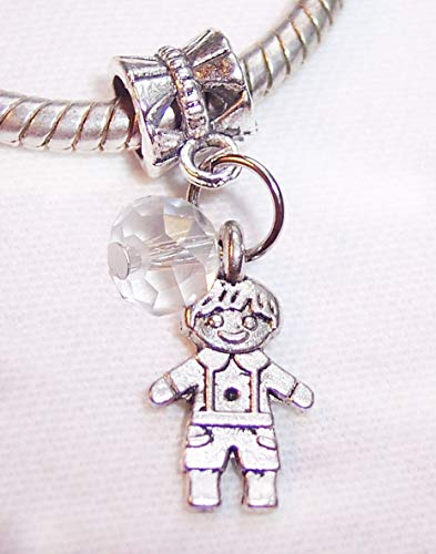 April Birthstone Little Boy Clear Crystal Son Grandson Charm for Euro Bracelets Crafting Key Chain Bracelet Necklace Jewelry Accessories Pendants