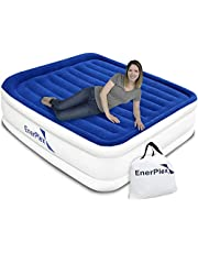 EnerPlex Luxury Air Mattress with Built-in Pump Pillow Top Airbed Raised Double High Elevated Blow Up Mattress Inflatable Bed for Home Camping Travel, 2-Year Warranty