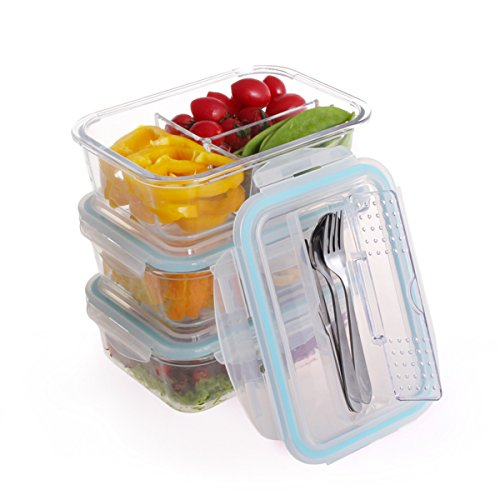 Glass Meal Prep Containers 3 Compartment – 3pc BPA Free Glass Lunch Box with 3 Set Reusable Cutlery Sits Neatly in the Lid Compartment, Food Storage Containers Microwave, Freezer, Oven Dishwasher Safe