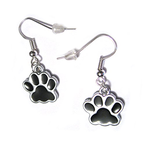 Black Dog or Cat Paw Print Charms French Hook Silver Plated (Enamel French Hook Earrings)