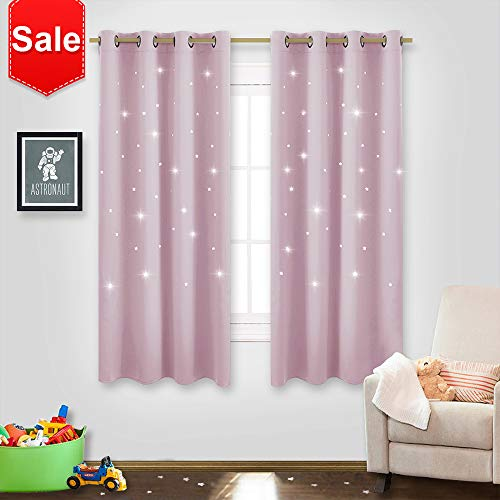 NICETOWN Star Window Curtains for Girls - Magical Star Cut Room Darkening Drapes and Draperies for Baby Nursery/Girls Dorm/Bedroom (Lavender Pink=Baby Pink, Set of 2 Panels, 52W x 63L