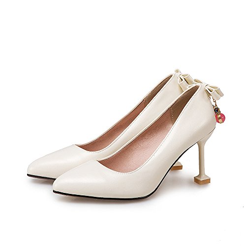 Carolbar Womens Pointed Toe Bows Beaded Stilettos High Heels Pumps Shoes Beige-white XH02t