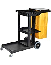 Janitorial Cart with Lid and Vinyl Bag, 3 Shelf Heavy Duty Cleaning Utility Cart for Housekeeping/Cleaning/Commercial, 330lbs Capacity (Color : Black)