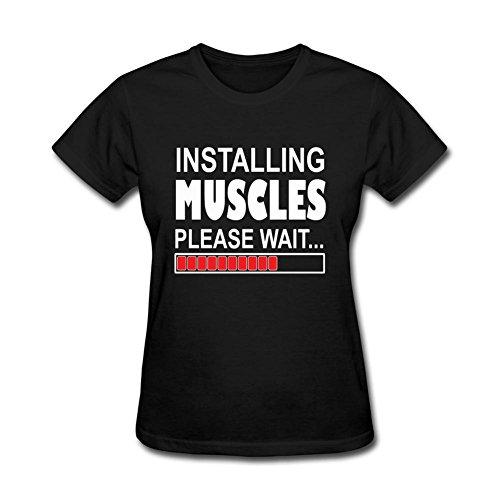 AVERBILY Women's Installing Muscles Pelase Wait T-shirt Black (Roman Reigns Muscle)