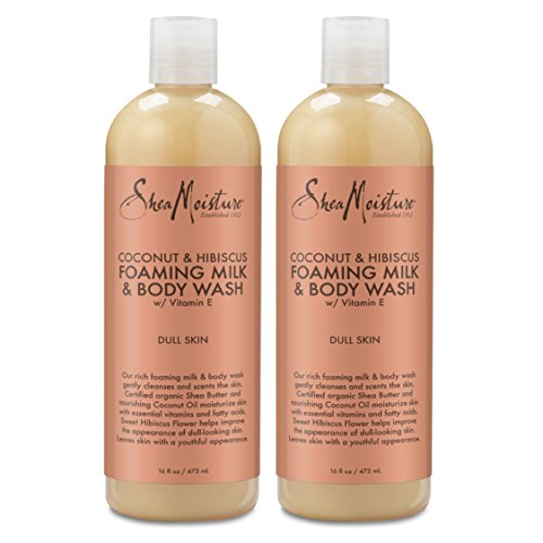Shea Moisture Coconut & Hibiscus Foaming Milk & Body Wash, 16 oz (Pack of 2)