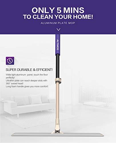 Commercial Microfiber Floor Mop 24 - Professional Hardwood Floor Cleaner with Aluminum Plate & 3 Durable Cloths for Dust Dirt & Animal Hair - Adjustable 360 Swivel Head & Extendable Foam Handle