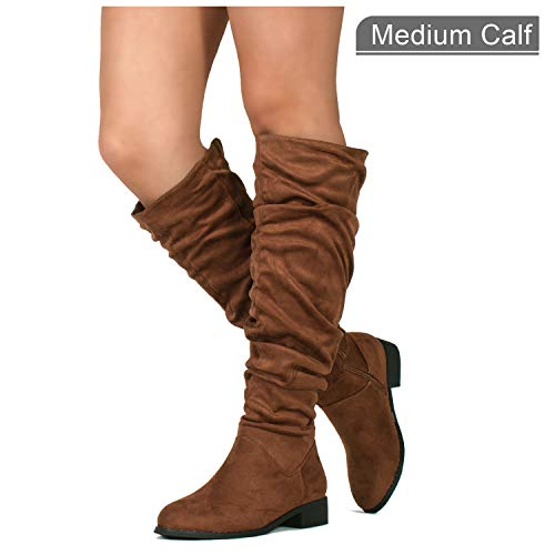 Walnut Block (RF ROOM OF FASHION Women's Slouchy Pull On Low Block Heel Knee High Boots (Medium Calf) Walnut SU (11))