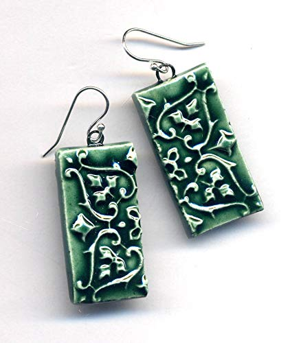 Porcelain Silver Malachite Green Porcelain Earrings, Rectangular modern geometrical Handmade Sterling Ceramic Earrings
