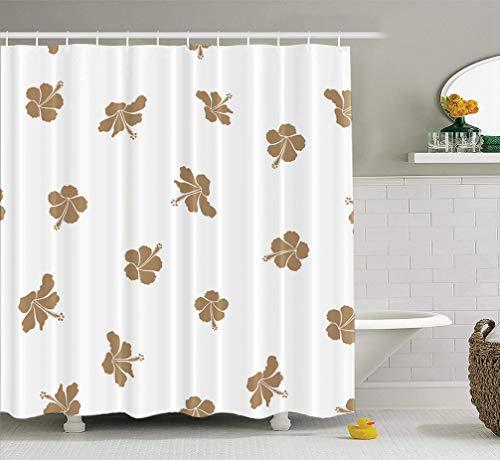 KJONG Watercolor-Wheel-Floral Bathroom Shower Curtains 72x78 inches Aloha Hawaiian Shirt Hibiscus White Beige Art Artwork Backdrop Waterproof Fabric Bathroom Curtain Set of Hooks