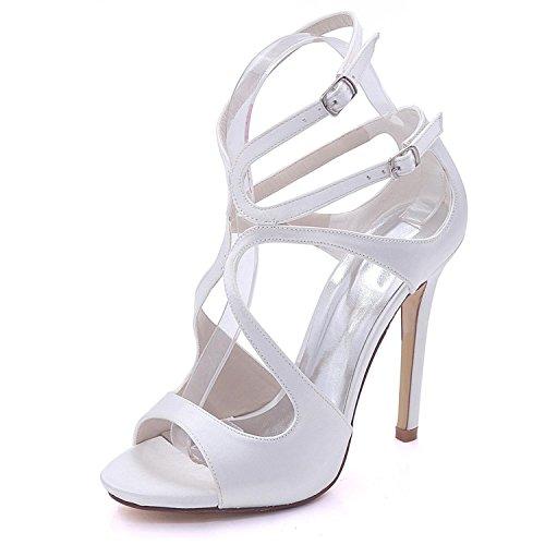 Tacón Alto 7216-06 de Las Mujeres del Dedo del pie Abierto del Satén Nupcial Nupcial del Multicolor Tamaño Grande 3-8 Zapatos de la Corte White