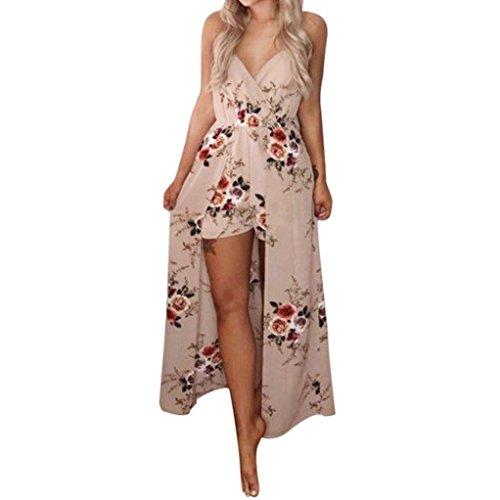 Women Floral Strap Maxi Beach Dress Overlay Shorts Jumpsuit