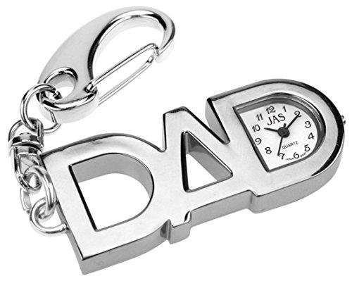 JAS Unisex Novelty Belt Fob/Keychain Watch DAD Silver Tone
