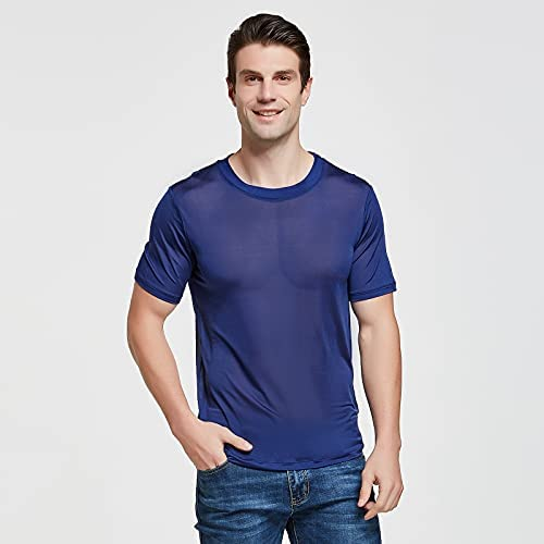 Viamulion Mens Silk Knitted T Shirt 100% Pure Mulberry Silk Soft Cool Performance Crew Neck Casual