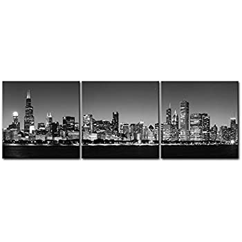 Canvas print wall art painting for home decor black white chicago skyline night buildings cityscape
