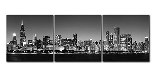 Canvas Print Wall Art Painting For Home Decor Black & White Chicago Skyline Night Buildings Cityscape Coastline 3 Pieces Panel Paintings Artwork The Picture City Pictures Photo Prints On Canvas ()