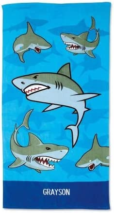Lillian Vernon Personalized Kids Sharks Cotton Beach Towel for Boys, 100% Cotton