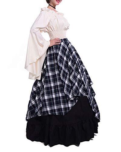 Maxi Robe Médiéval toussaint Noir Évasées Zhuikuna Carnaval Drame Fête manches Adulte Costume Gz Déguisement cosplay v0mwN8n