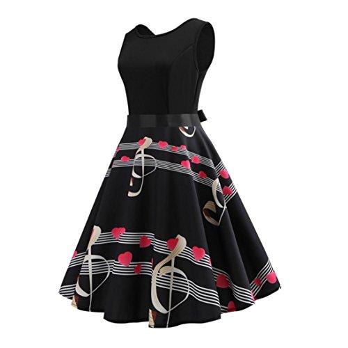 Noir Swing Imprim Vintage AnnEs 1950'S De Hepburn 50 Manches Papillon sans Soire Femmes Cocktail Pin Up Floral Robe Musical LONUPAZZ Audrey P8ax6Rw5q8