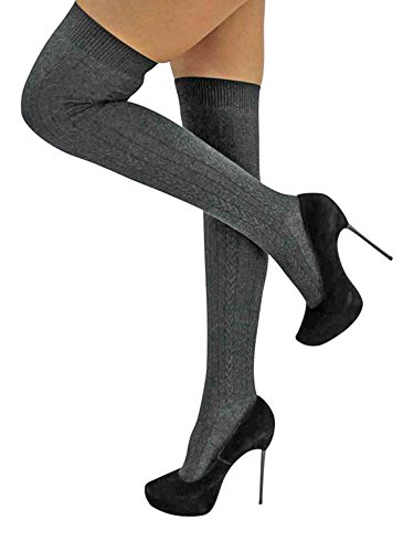 Gray Cable Knit Thigh High Socks by Luxury Divas