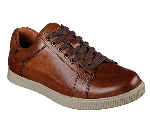 Skechers Mens Lifestyle 65323 Low Profile Leather Lace Up, Tan - 11.5