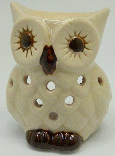 Ceramic Owl Shape Design Tart & Candle & Oil Warmer Potpourri Oil Burner Beige MY-3395