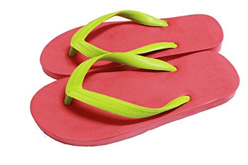 Ruay Tang Heren Rubber Beach Slippers Sandalen Rood - Lichtgroen