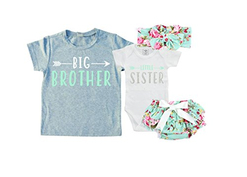 Big Brother/Little Sister Set. Matching Big Brother Little Sister Set 0-3Mo Bodysuit & 5T Shirt (Brother Sister Clothes)