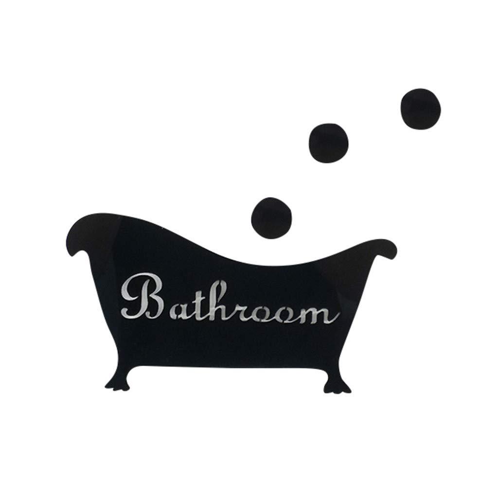 Rendodon 3D Mirror Sticker Funny Door Entrance Sign Kids Men Women Bathroom DIY Wall Sticker Decals Bar Home Decor Mirror Effect Wall Sticker Decal Home Decor Wall Sticker Decal Home Decor. (Black)