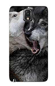 For Galaxy Note 3 Protective Case, High Quality For Galaxy Note 3 Fighting Animals National Geographic Open Mouth Wolves Skin Case Cover