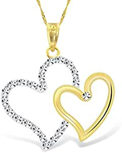 18KT Gold, Yellow & White double hearts pendant with chain