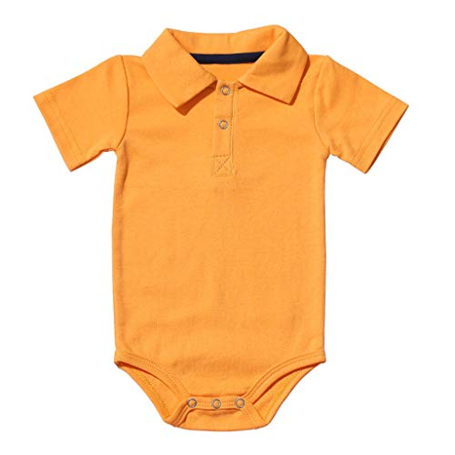 Willow S Newborn Infant Baby Boy Girl Summer Gentlemen Cool Solid Short Sleeve Rompers Bodysuit Clothes Outfits Yellow