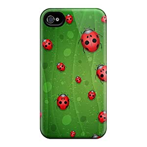 ZhiqiangYao Iphone 4/4s Well-designed Hard Cases Covers Red Lady Bugs Protector