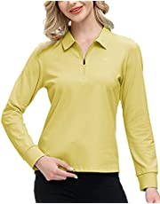 AIRIKE Women's Golf Polo Shirt Long Sleeve 1/4 Zip Up Active Athletic Shirt Pullover Top