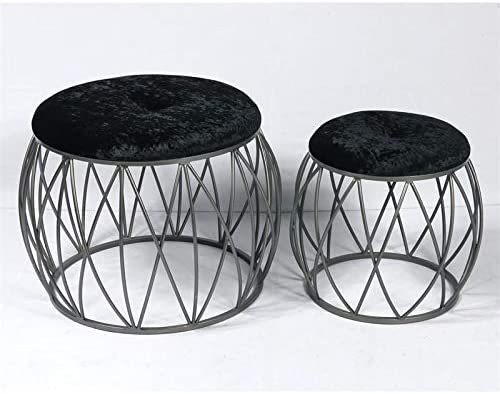 Emerald Home Sorrento Black and Steel Stool Set with Metal Basket Base and Upholstered Seat