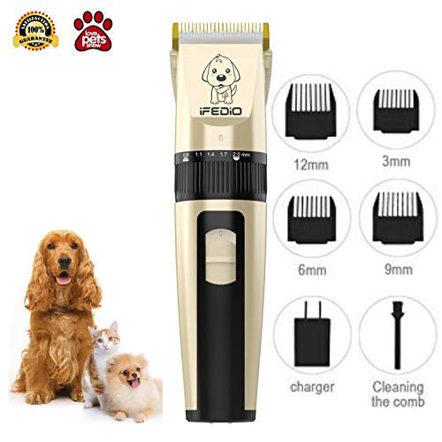 Evening Dog Clippers Professional Dog Grooming Kit Rechargeable Cordless Pet Grooming Clippers Low Noise Pet Hair Clippers with Pet Clippers Comb Guides for Dogs Cats and Other Furry Pets (Brown)