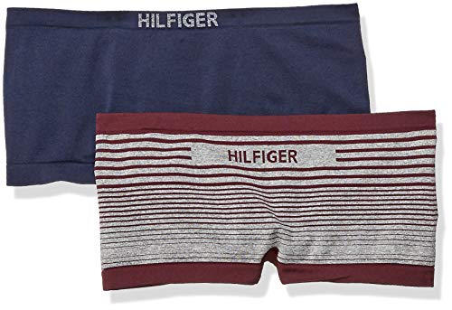 - Tommy Hilfiger Women's Seamless Boyshort Underwear Panty, Ombre Stripe fig Purple/Heather Grey, Navy Blazer - 2 Pack X-Small