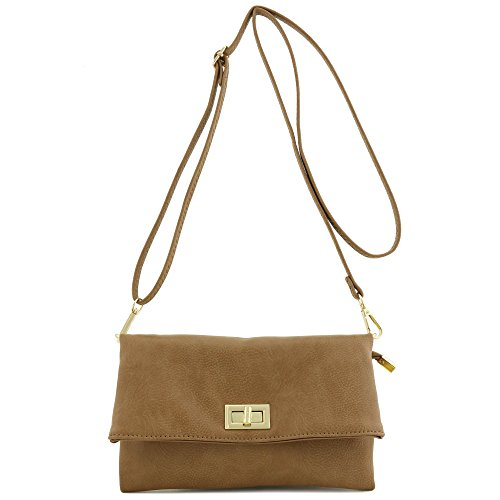 Double Compartment Turnlock Envelope Clutch Crossbody Bag Stone