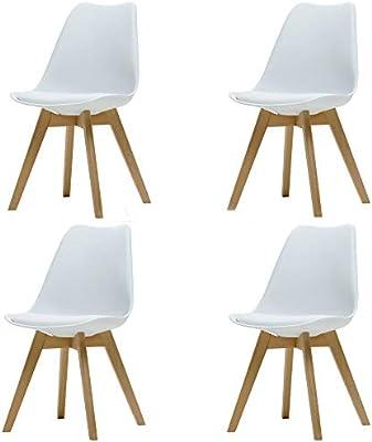 ArtDesign FR Silla Nórdica (Pack 4) - Silla Escandinava Blanca ...