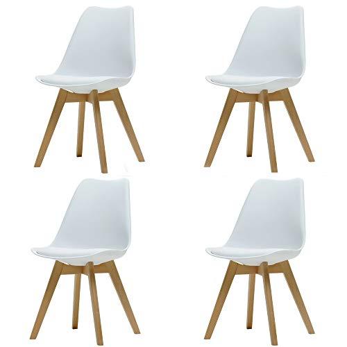 ArtDesign FR Silla Nordica (Pack 4) - Silla Escandinava Blanca - Silla Nordic Scandi