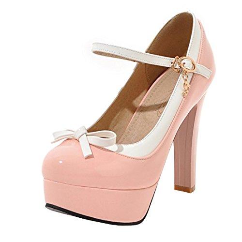 YE Damen Knöchelriemchen Geschlossene Pumps Blockabsatz High Heels Plateau mit Schleife und 12cm Absatz Elegant Rockabilly Schuhe Rosa