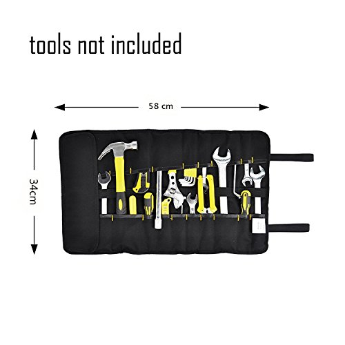 FASITE 35 Pockets Multi Purpose Tool Roll Up Wrench Pouch Organizer with Handle for Handymen Plumber Craftsmen DIY Fun Enthusias Best Gift for Craftwork (Blue) by BES CHAN (Image #2)