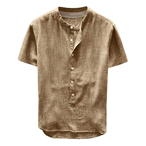 (GDJGTA Tops for Mens Short Sleeve Solid Color Button Casual Linen and Cotton Top Blouse Khaki)