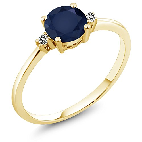 Diamond 10 Ct Solitaire (10K Yellow Gold Engagement Solitaire Ring set with 1.03 Ct Round Blue Sapphire and White Diamonds (Ring Size 8))